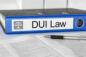 Blue folder with the label DUI Law